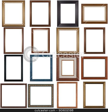 Set of wooden frames stock photo, Set of wooden frames isolated on white background. by Homydesign 