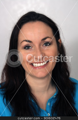 Beautiful, Friendly Brunette, Headshot (1) stock photo, A close-up of a lovely brunette with a warm, friendly smile. by Carl Stewart