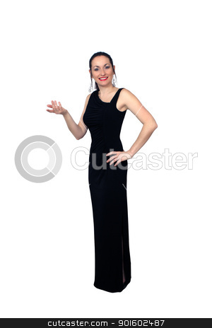 Beautiful Brunette Wearing a Long Black Dress (4) stock photo, A lovely brunette wearing a long black dress, isolated on a white background.  Generous copyspace. by Carl Stewart