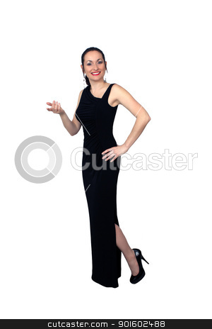 Beautiful Brunette Wearing a Long Black Dress (5) stock photo, A lovely brunette wearing a long black dress, isolated on a white background.  Generous copyspace. by Carl Stewart