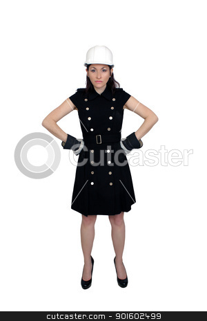 Beautiful Female Construction Worker (7) stock photo, A lovely brunette wearing a white hardhat, work gloves, and a snappy dress, with a serious or stern facial expression and pose.  Isolated on a white background with generous copyspace. by Carl Stewart