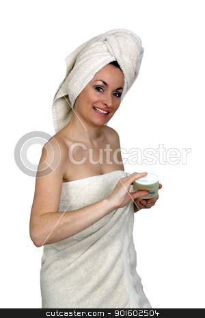 Beautiful Bath-n-Body Woman (3) stock photo, A lovely woman wearing bath towels, holding a bottle of lotion.  Isolated on a white background. by Carl Stewart