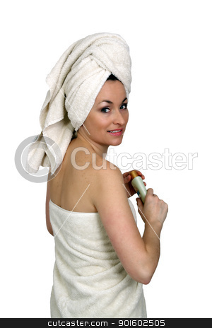 Beautiful Bath-n-Body Woman (4) stock photo, A lovely woman wearing bath towels, holding a bottle of lotion.  Isolated on a white background. by Carl Stewart