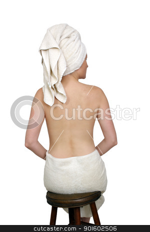 Beautiful Bath-n-Body Woman (5) stock photo, A lovely woman wearing bath towels, topless facing away from the camera.  Isolated on a white background. by Carl Stewart