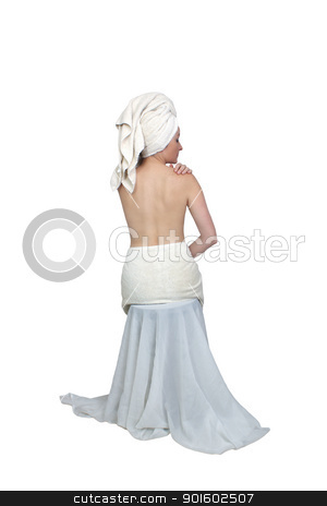Beautiful Bath-n-Body Woman (6) stock photo, A lovely woman wearing bath towels, topless facing away from the camera.  Isolated on a white background. by Carl Stewart