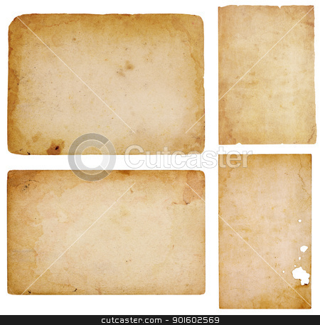 Four Vintage Paper Scraps stock photo, Set of four aged, worn and stained paper scraps isolated on white with room for text or images. by Mark Carrel