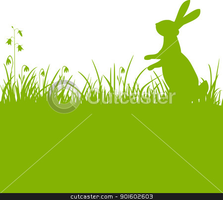 Easter bunny green background stock vector clipart, Easter green background, bunny or rabbit sitting in the meadow with flowers, vector illustration by Ela Kwasniewski