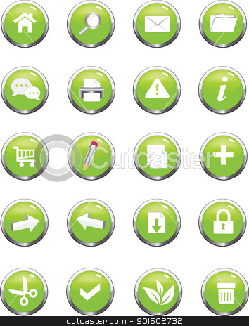 web navigation icon stock vector clipart, A collection of green  icons useful for website by monicaodo