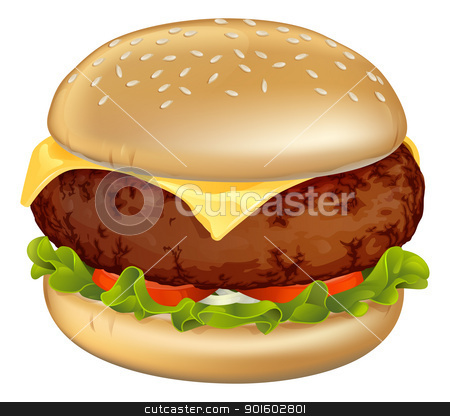 Burger illustration stock vector clipart, Illustration of a tasty looking classic beef cheeseburger with lettuce, tomato and onion by Christos Georghiou