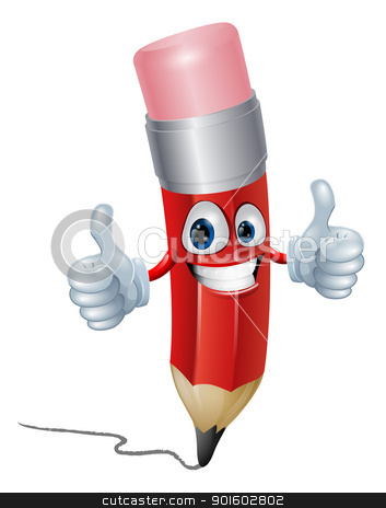 Pencil mascot man stock vector clipart, Funny pencil mascot man giving a double thumbs up by Christos Georghiou