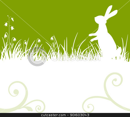 Easter bunny stock vector clipart, Easter green background, bunny or rabbit sitting in the meadow, vector illustration by Ela Kwasniewski