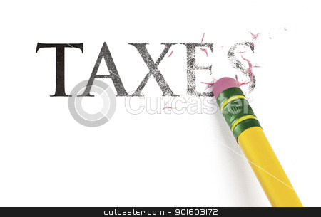 Erasing Taxes stock photo, Close up of a yellow pencil erasing the word, 'Taxes.' Isolated on white. by Mark Carrel