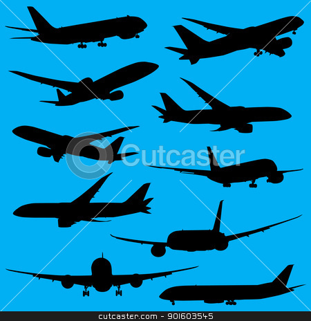 Airplanes silhouettes  stock photo, Airplanes silhouettes isolated on white background by lkeskinen