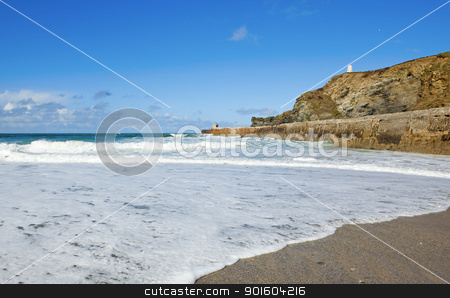 Portreath beach waves breaking, Cornwall UK. stock photo, Portreath beach waves breaking, Cornwall UK. by Stephen Rees
