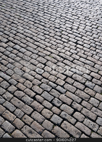 Old English cobblestones road in Plymouth close up. stock photo, Old English cobblestones road in Plymouth close up. by Stephen Rees