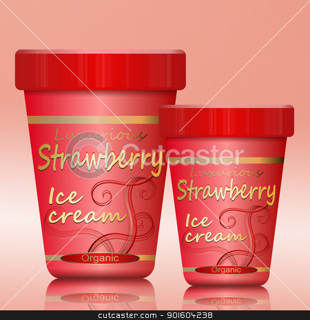 Strawberry Ice cream. stock photo, Illustration depicting two strawberry ice cream containers arranged over pink. by Samantha Craddock