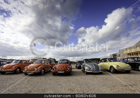 VW Beetle cars stock photo, CINEVILLA, LATVIA - OCTOBER 2: Volkswagen Beetle cars Meeting on October 2, 2010 in Cinevilla, Latvia. The VW Beetle is the longest running and most manufactured car of a single design platform in the world. by Ints Vikmanis