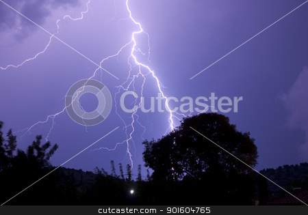 Lightening Roots At Night Striking Near Tree stock photo, Thunderstorm with lightening at night. by KonArt