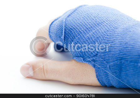 Hand bandaged in blue plaster stock photo, bandaged broken male hand on white background and shallow depth of field and copy space by KonArt