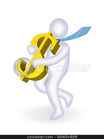Man carrying dollar stock photo, An illustration of man carrying 3d dollar  by Sreedhar Yedlapati
