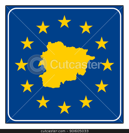 Andorra European button stock photo, Andorra map on blue and starry European button isolated on white background with copy space.  by Martin Crowdy