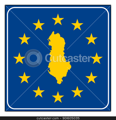 Albania European button stock photo, Albania map on blue and starry European button isolated on white background with copy space.  by Martin Crowdy