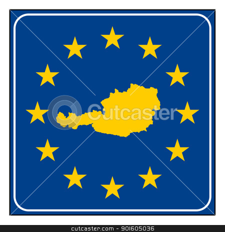 Austria European button stock photo, Austria map on blue and starry European button isolated on white background with copy space.  by Martin Crowdy