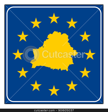 Belarus European button stock photo, Belarus map on blue and starry European button isolated on white background with copy space.  by Martin Crowdy