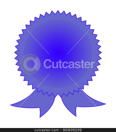 Blank blue rosette stock photo, Blank blue rosette on white background with copy space. by Martin Crowdy