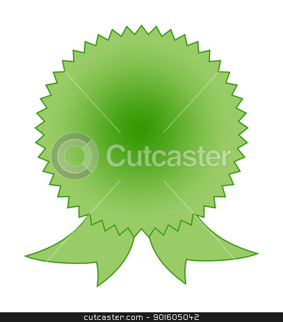 Blank green rosette award stock photo, Blank green rosette on white background with copy space. by Martin Crowdy