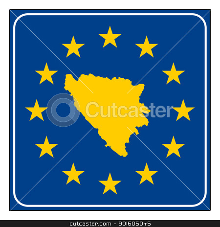 Bosnia and Herzegovina European button stock photo, Bosnia and Herzegovina map on blue and starry European button isolated on white background with copy space.  by Martin Crowdy