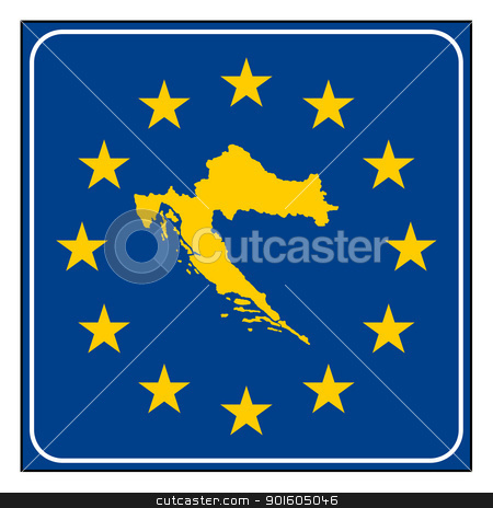 Croatia European button stock photo, Croatia map on blue and starry European button isolated on white background with copy space.  by Martin Crowdy