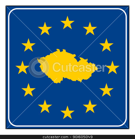 Czech Republic European button stock photo, Czech Republic map on blue and starry European button isolated on white background with copy space.  by Martin Crowdy