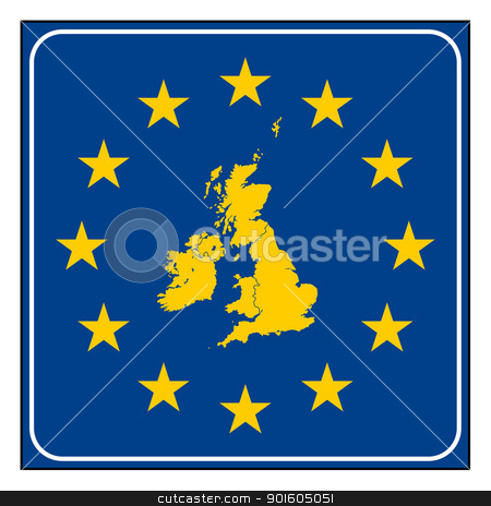 UK European button stock photo, UK map on blue and starry European button isolated on white background with copy space.  by Martin Crowdy
