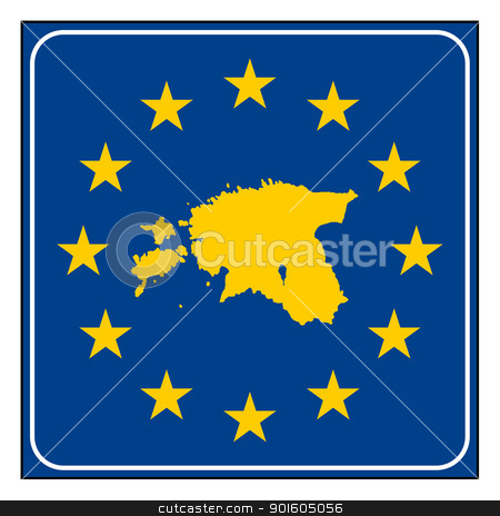 Estonia European button stock photo, Estonia map on blue and starry European button isolated on white background with copy space.  by Martin Crowdy