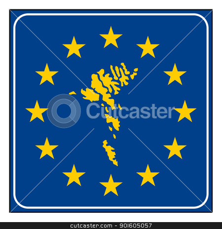 Faroe Islands European button stock photo, Faroe Islands map on blue and starry European button isolated on white background with copy space.  by Martin Crowdy
