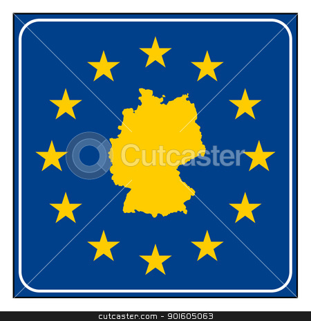 Germany European button stock photo, Germany map on blue and starry European button isolated on white background with copy space.  by Martin Crowdy