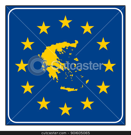 Greece European button stock photo, Greece, Greek, map on blue and starry European button isolated on white background with copy space.  by Martin Crowdy