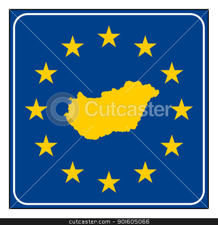 Hungary European button stock photo, Hungary map on blue and starry European button isolated on white background with copy space.  by Martin Crowdy