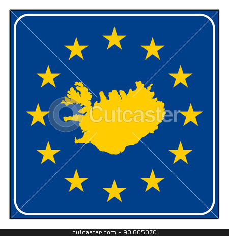Iceland European button stock photo, Iceland map on blue and starry European button isolated on white background with copy space.  by Martin Crowdy