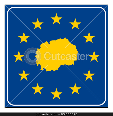 Macedonia European button stock photo, Macedonia  map on blue and starry European button isolated on white background with copy space.  by Martin Crowdy