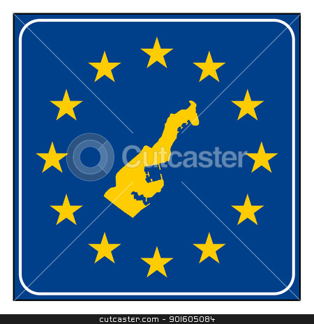 Monaco European button stock photo, Monaco map on blue and starry European button isolated on white background with copy space.  by Martin Crowdy