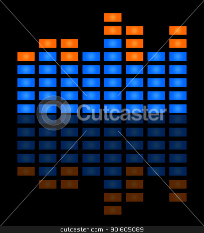 Music sound wave stock photo, Blue music sound wave on black background with copy space. by Martin Crowdy