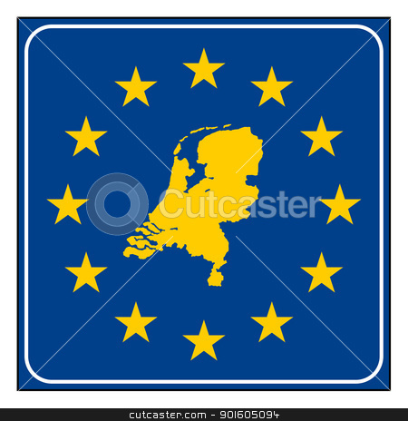 Netherlands European button stock photo, Netherlands map on blue and starry European button isolated on white background with copy space.  by Martin Crowdy