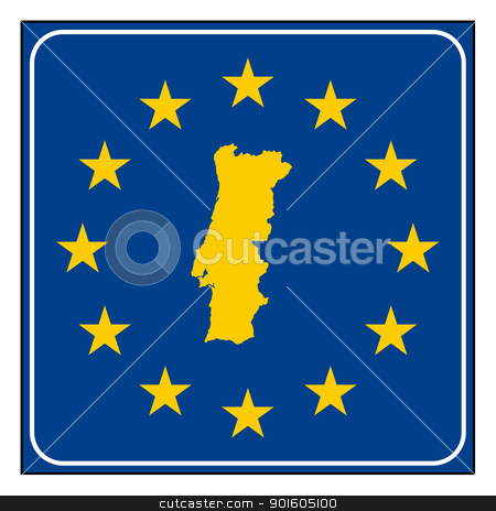 Portugal road sign stock photo, Portugal European button isolated on white background with copy space.  by Martin Crowdy