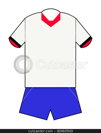 Red white and blue football kit stock photo, Red and blue football kit with clipping path on white background. by Martin Crowdy