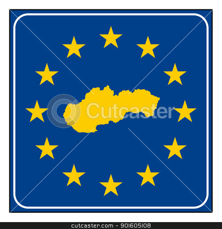 Slovakia road sign stock photo, Slovakia European button isolated on white background with copy space.  by Martin Crowdy