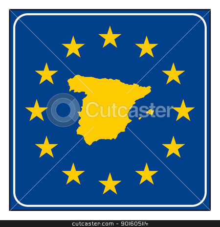 Spain road sign stock photo, Spain European button isolated on white background with copy space.  by Martin Crowdy
