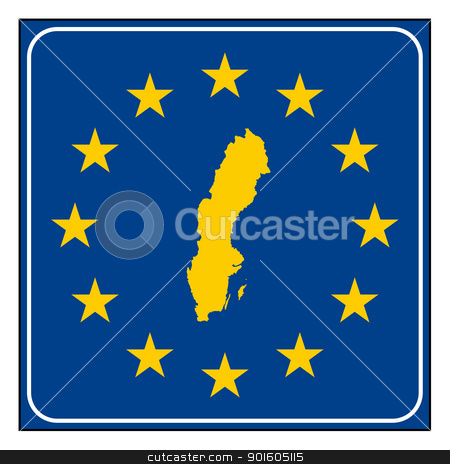 Sweden road sign stock photo, Sweden European button isolated on white background with copy space.  by Martin Crowdy