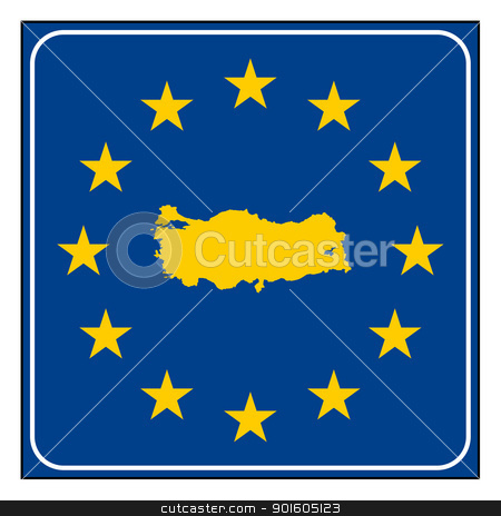 Turkey road sign stock photo, Turley European button isolated on white background with copy space.  by Martin Crowdy
